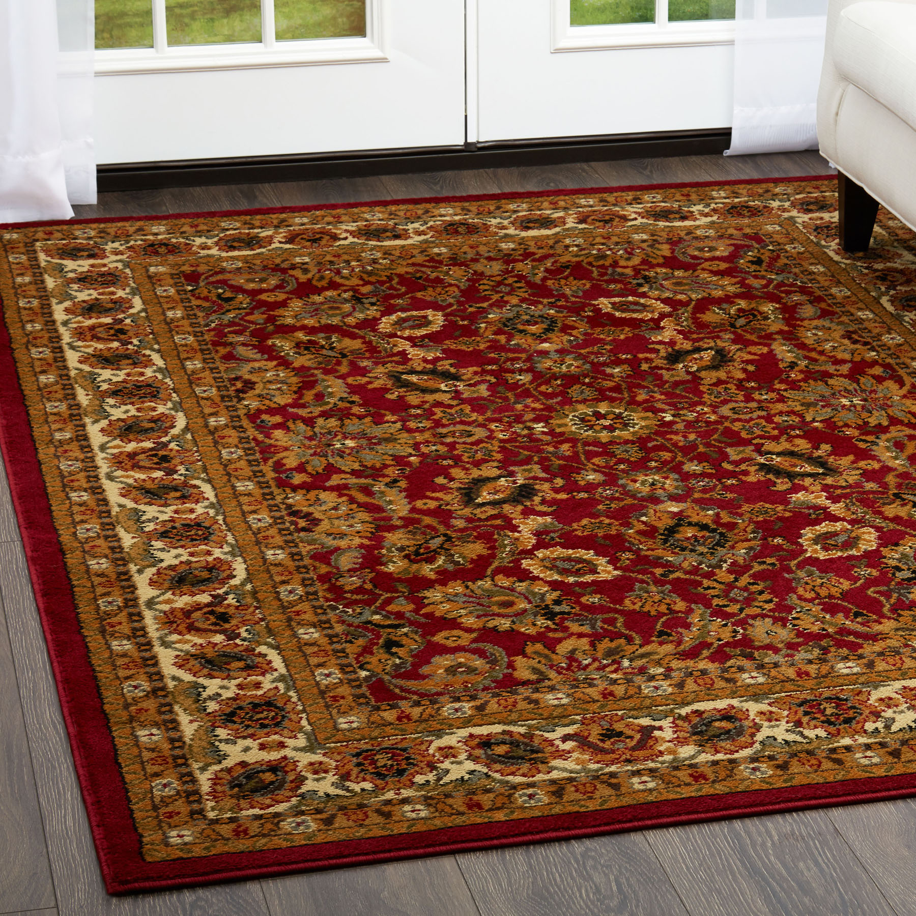 Red Oriental Area Rug Persian Style Floral Vines Oval Round Carpet