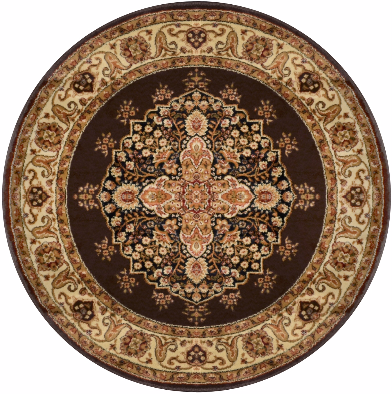Brown Medallion Oriental Area Rug 5x5 Round Persian Border