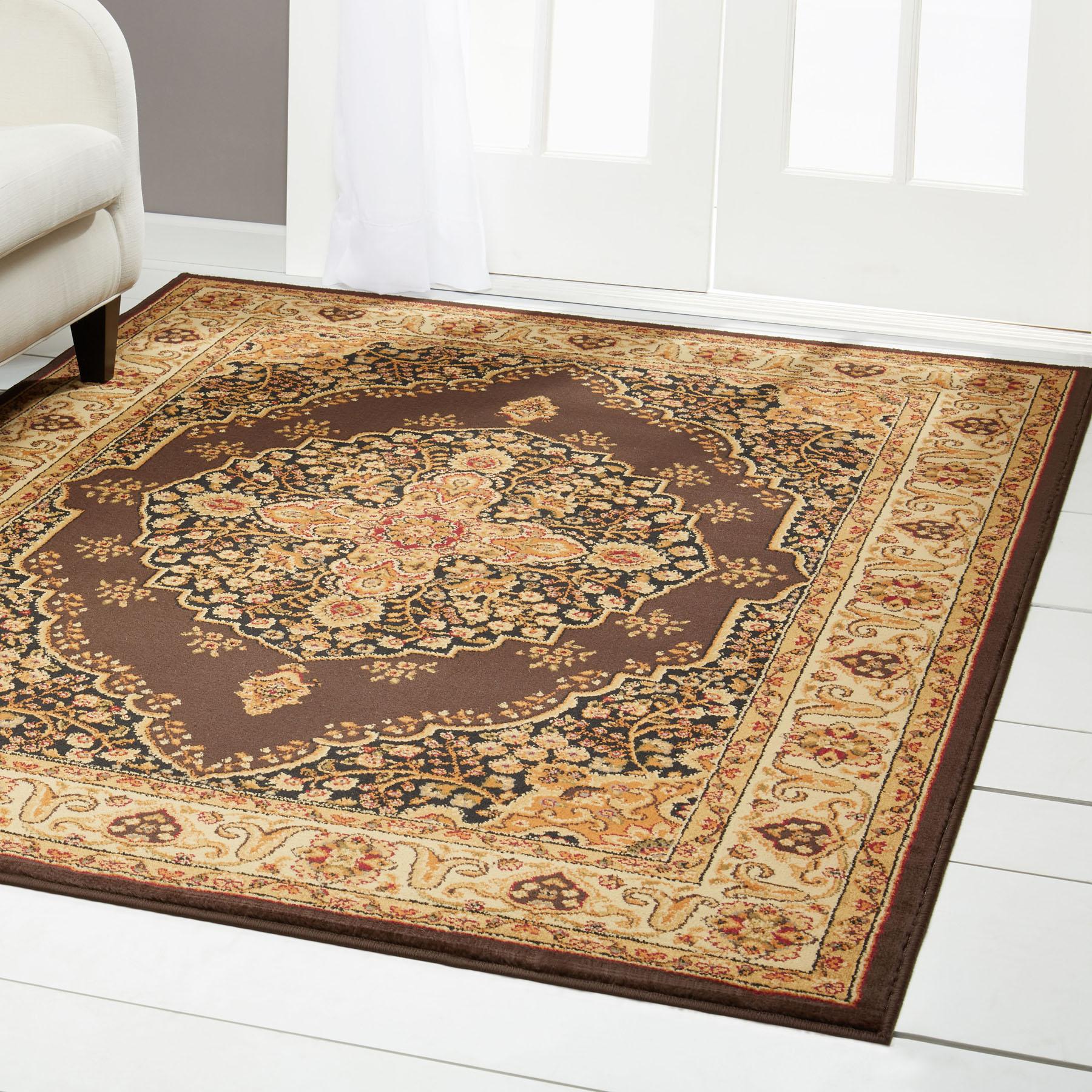 Brown Medallion Oriental Area Rug 8x11 Persian Border Carpet Actual