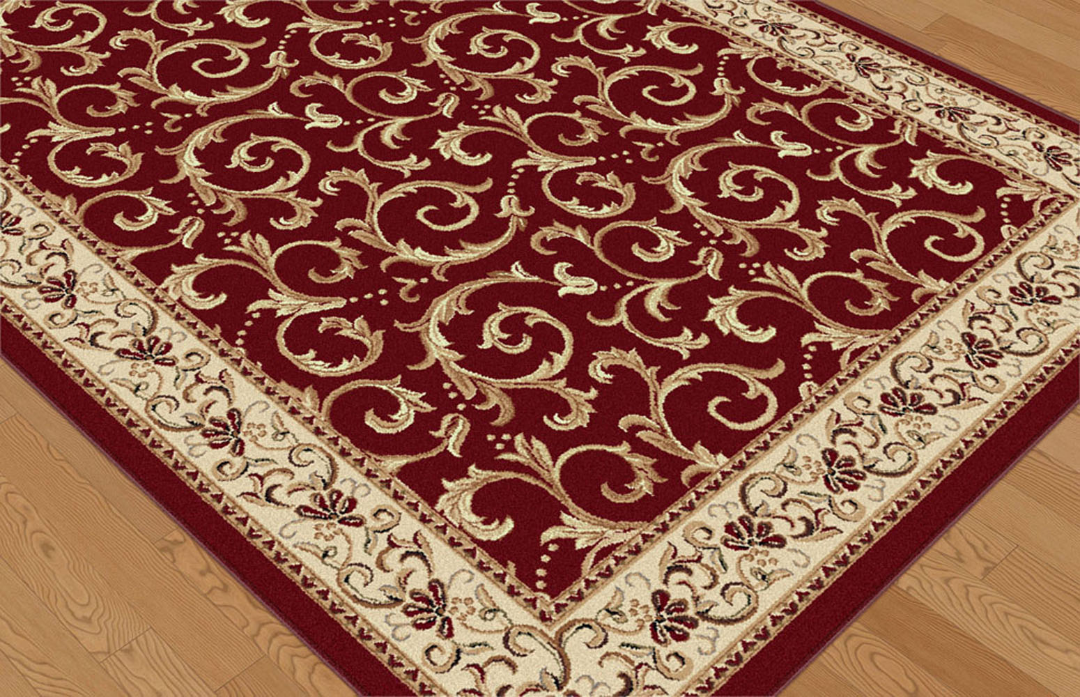 Red Vines Leaves Persien Area Rug Bordered Paneled Scrolls