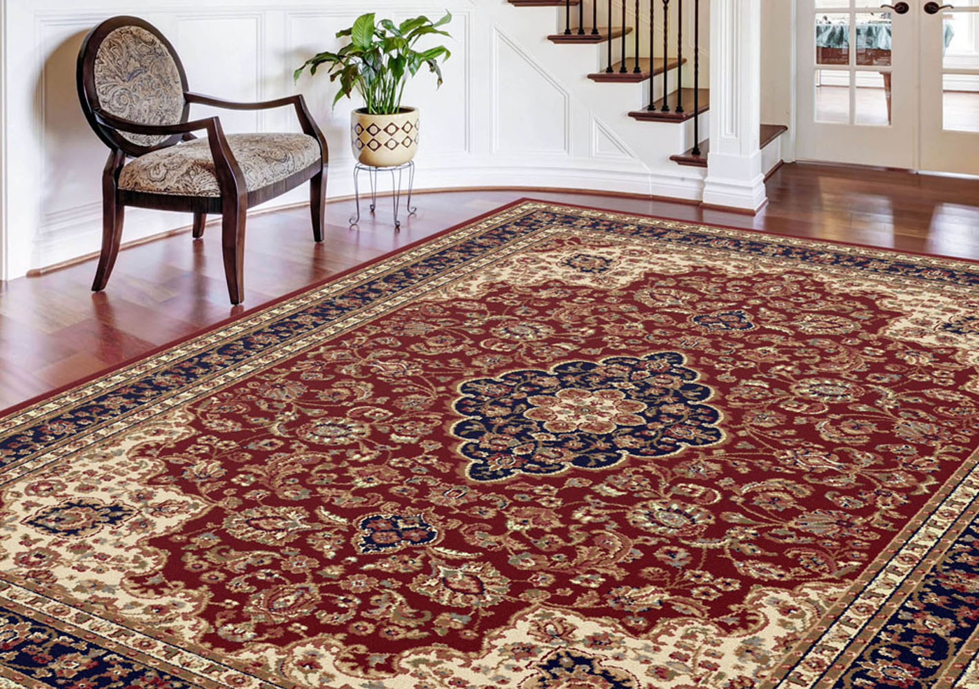 Red Leaves Vines Persien Area Rug Oriental Curves