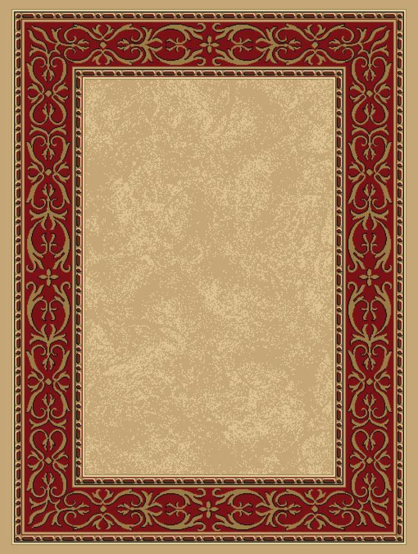 Beige Red European Bordered Carpet Filigree Scroll