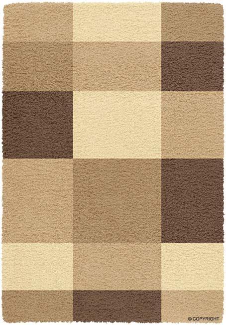 Beige Brown Squares Shag 7x10 Area Rug Modern Carpet