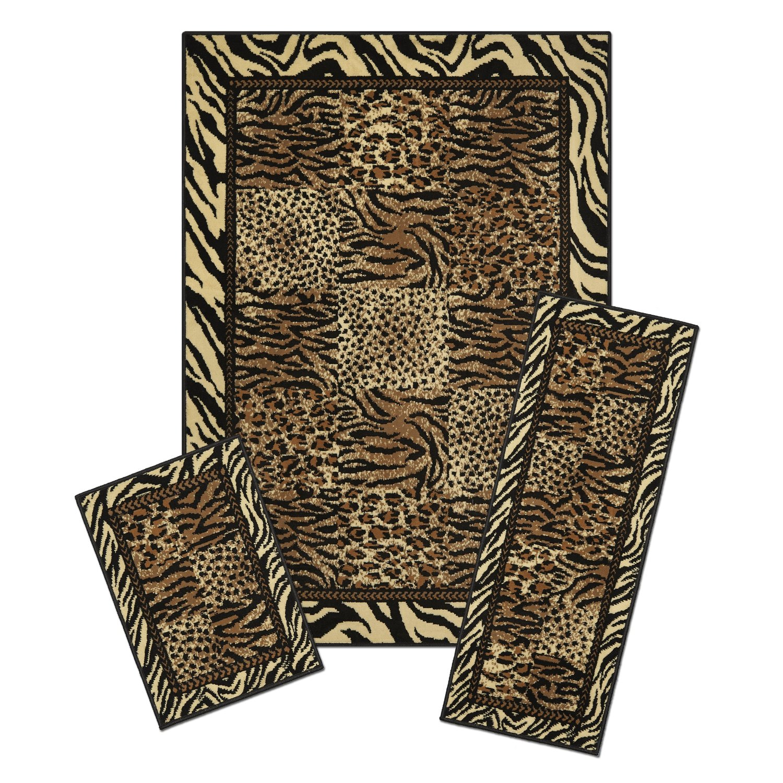 Safari LEOPARD Tiger Animal Print Bordered 3 Piece COMBO