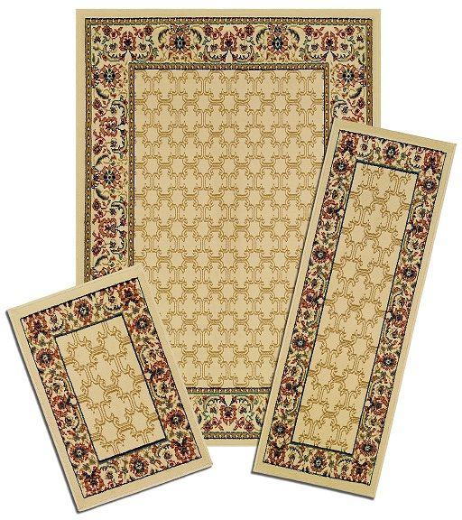 TRADITIONAL-Persien-ACCENT-mat-RUNNER-area-RUG-3-piece-SET-floral-BORDER-carpet thumbnail 4