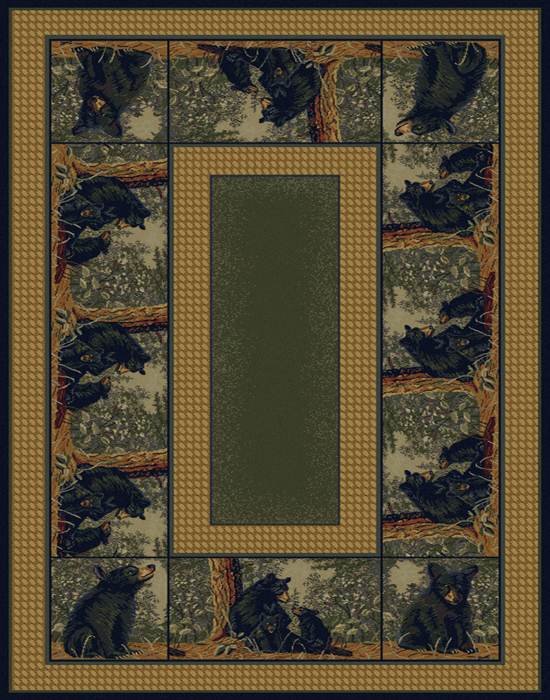 Nature Lodge Bears 2x8 Area Rug Rustic Border Runner