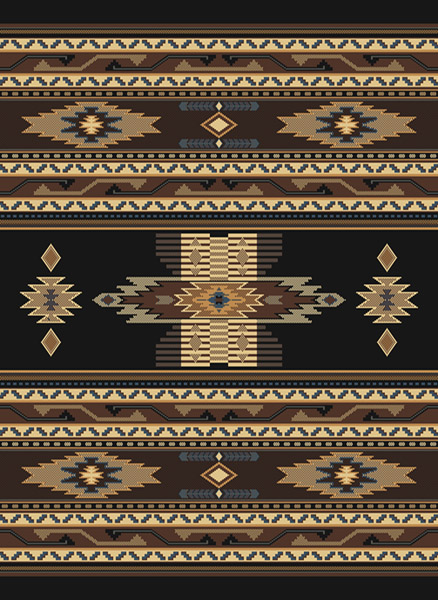 Southwestern Black Multi Native American Carpet Rustic