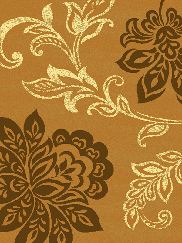 Casual Beige Tan Gold Large Scale Floral Leaves Lotus