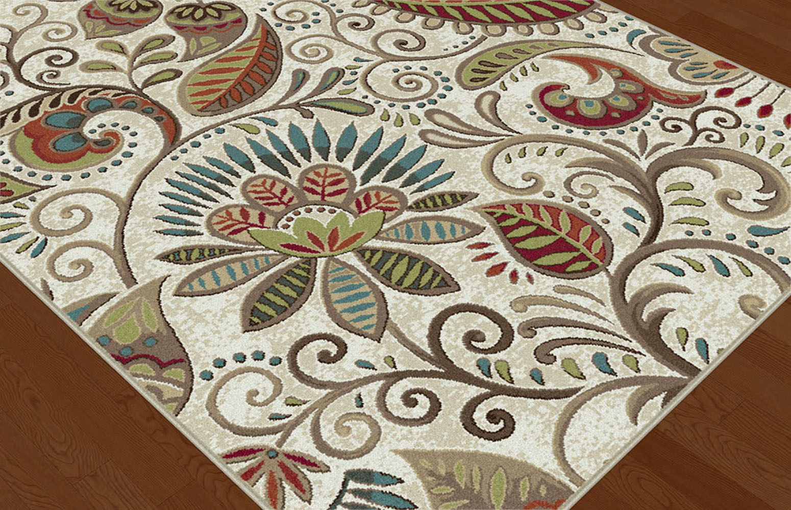 Ivory Transitional Paisley Floral Area Rug Multi Color