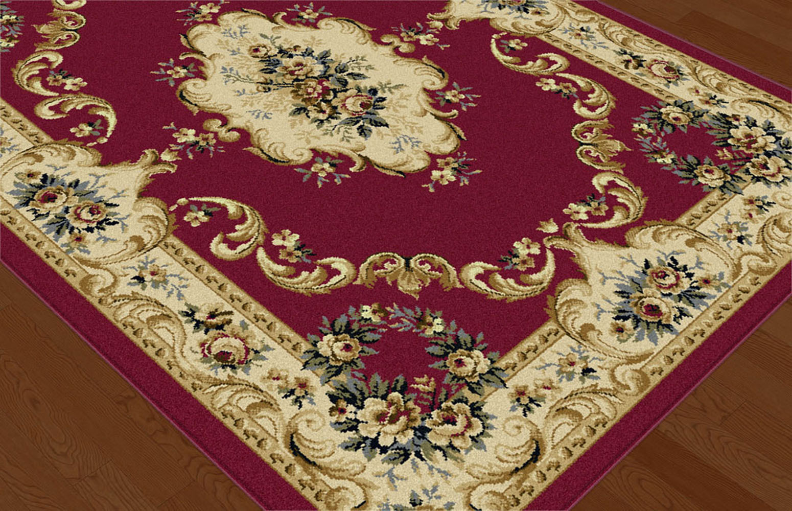 Reds Traditional Oriental Border Floral Area Rug Roses
