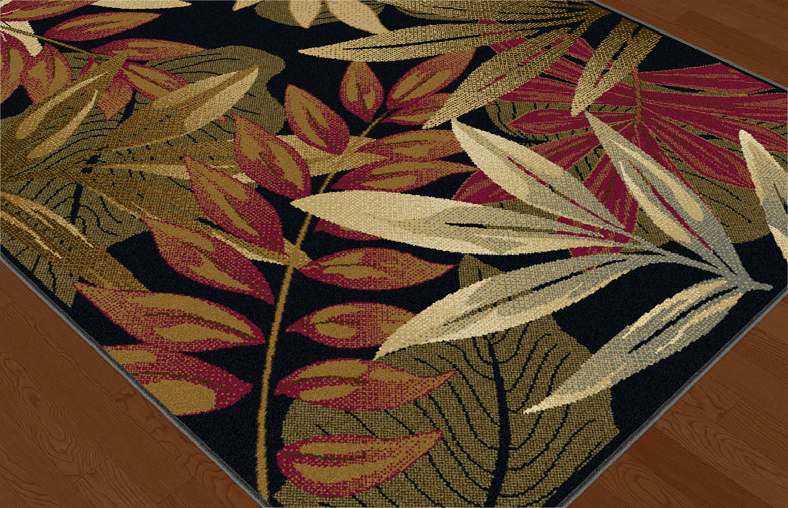 Black Transitional Floral Area Rug Tropical Multi Color