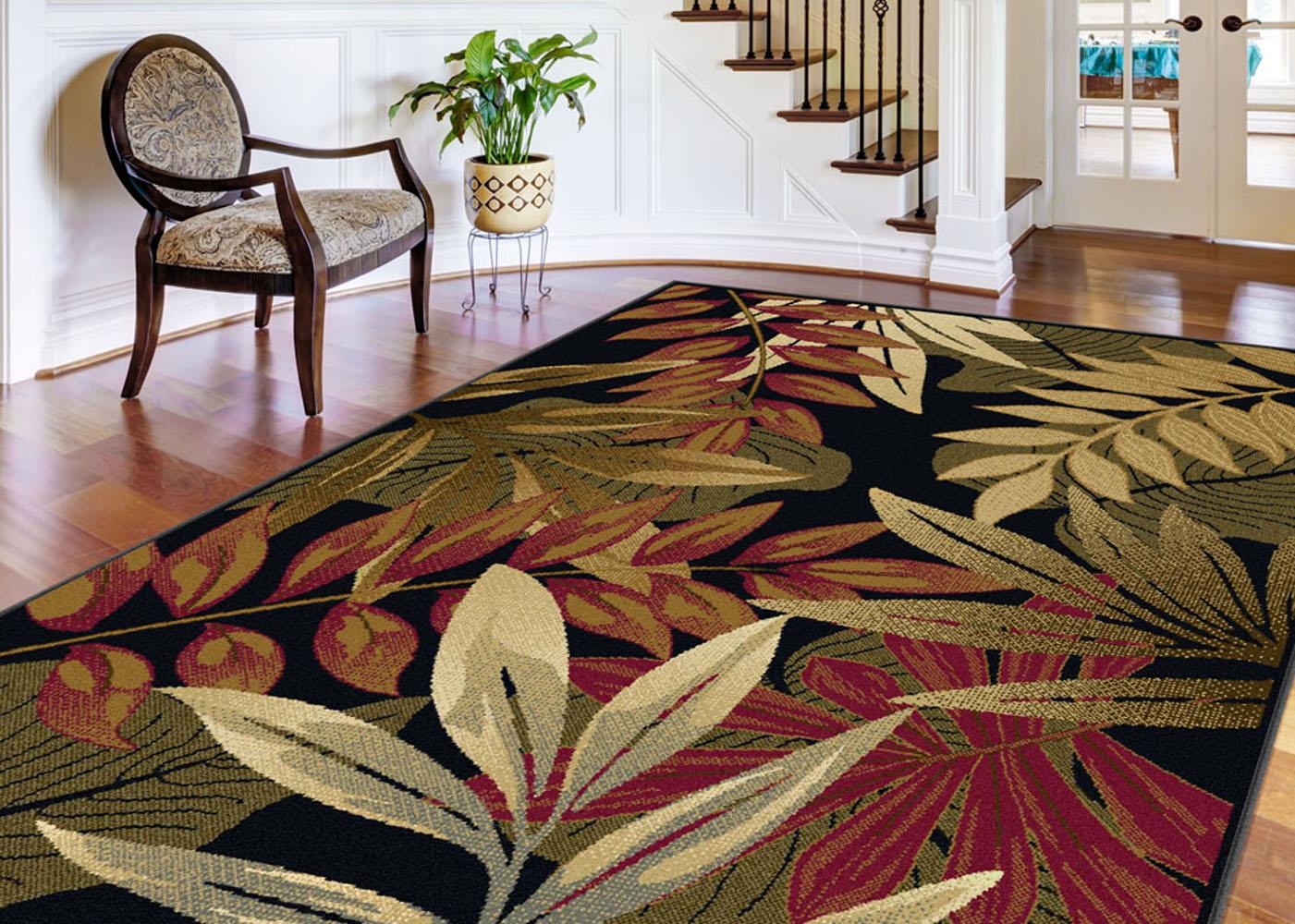 Black Transitional Floral Area Rug Tropical Multi Color