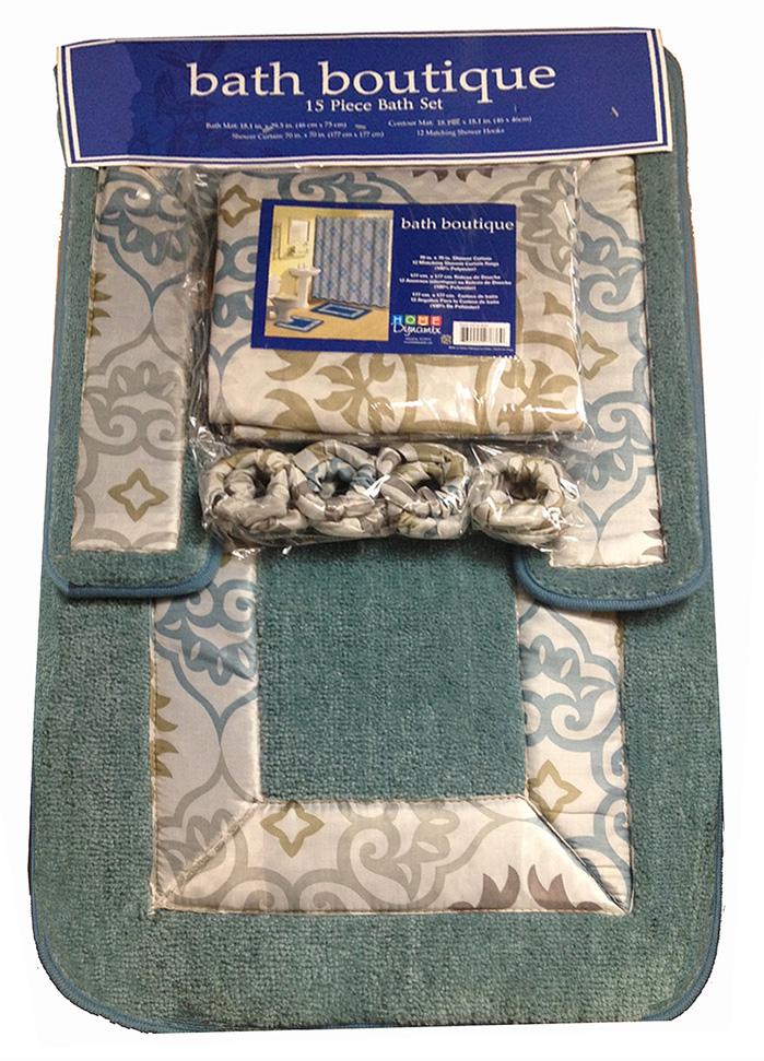 Transitional 15 Pieces Shower Curtain Contour Bath Mat w. Hooks ...