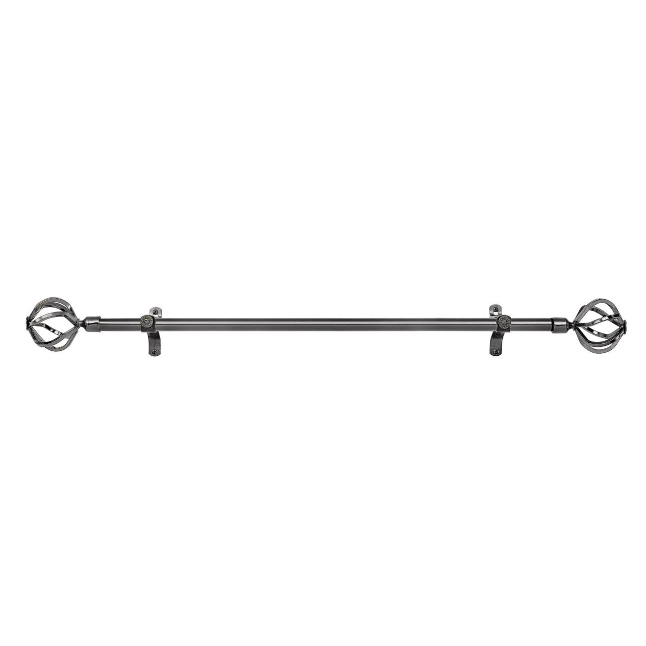 Black Nickel Adjustable Decorative Curtain Rods All Metal Birdcage Finial Sets Ebay