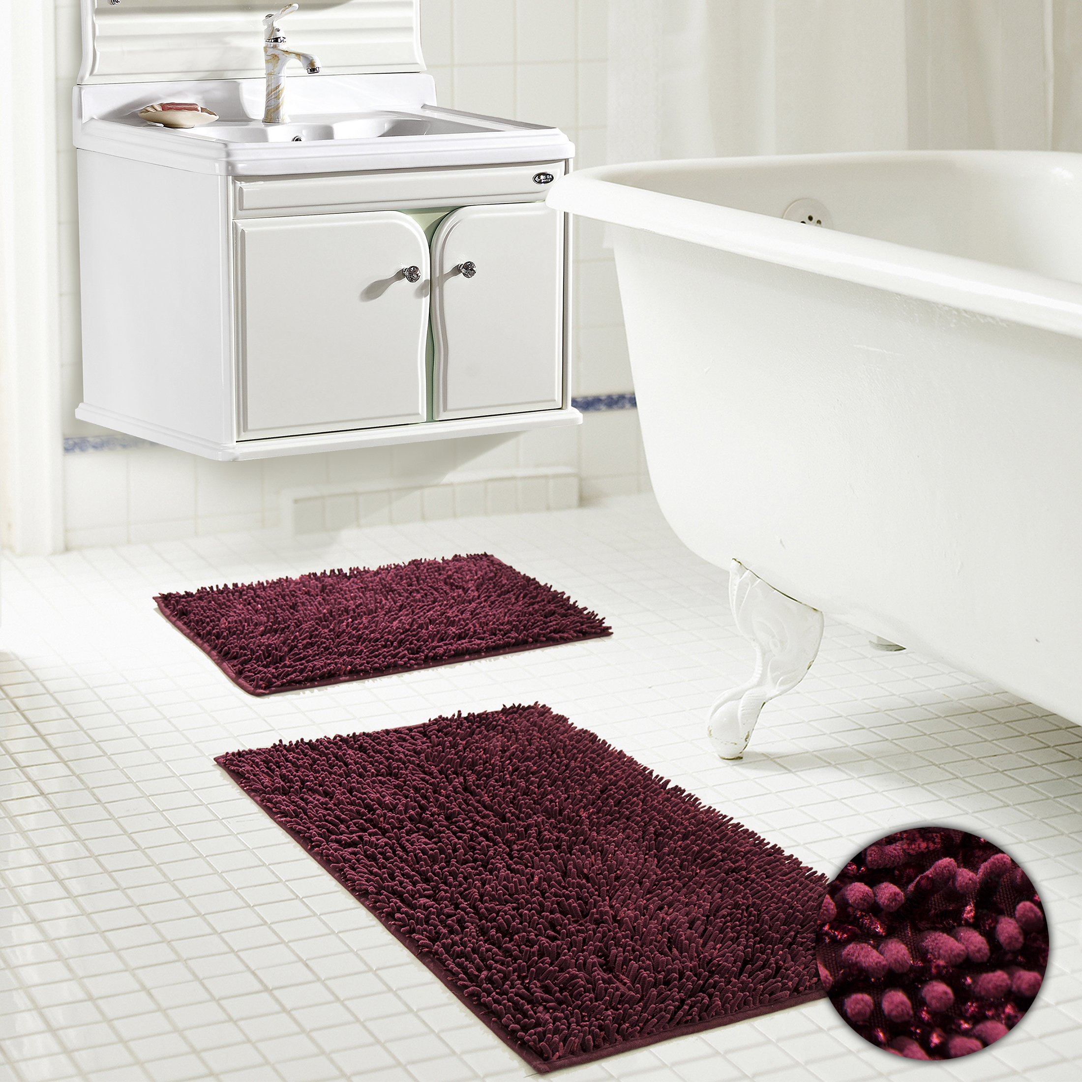Chenille Noodle Bath Mat Set Sparkle Glitter Thread Lurex