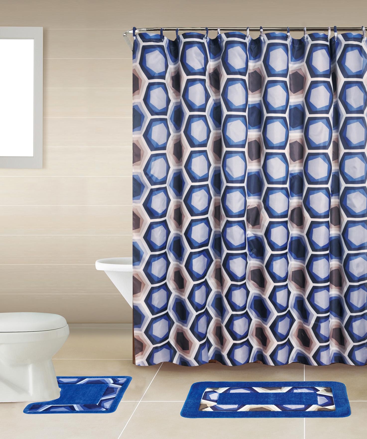 18 Piece Modern Shower Curtain Set Includes