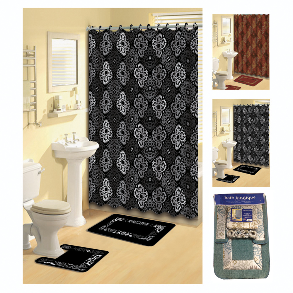 Transitional 15 Pieces Shower Curtain Contour Bath Mat W