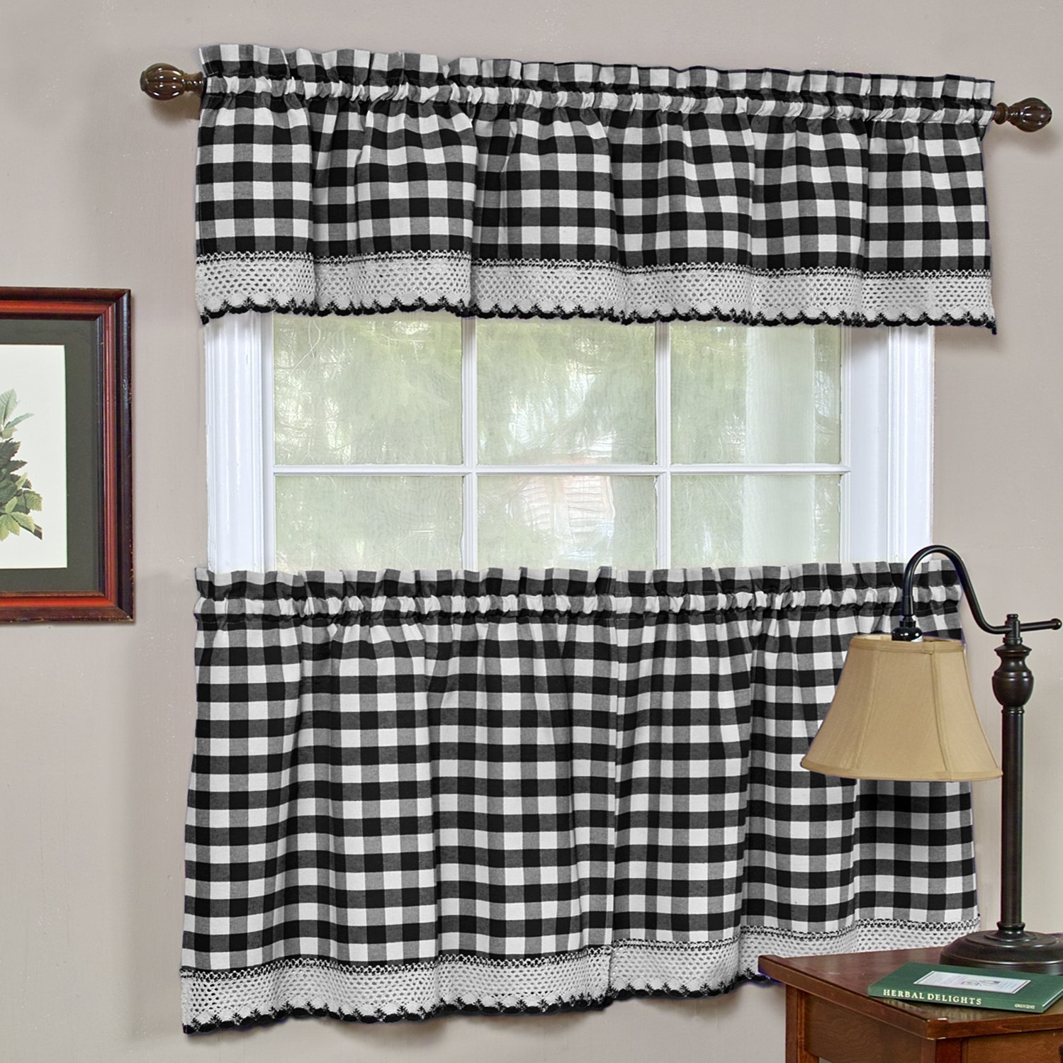 Navy Blue Plaid Checked Homespun Country Kitchen Window Topper Curtain Valance For Sale Online Ebay