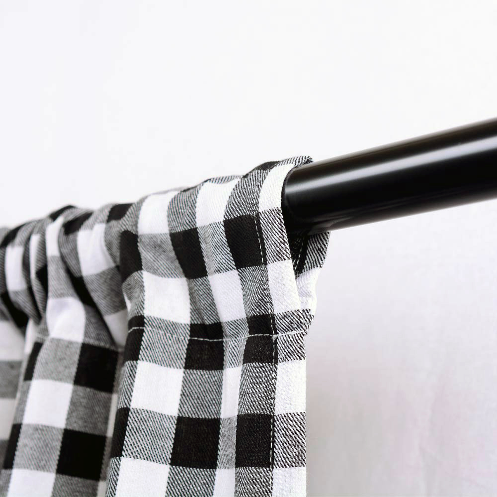 Window Curtain Tie-Up Shade Checked Plaid Gingham Kitchen