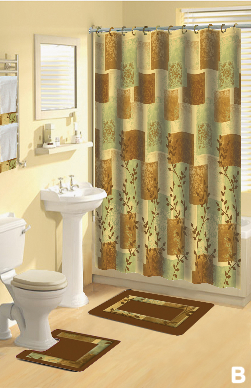 Shower Curtains 17 pcs Set Contemporary Bath Mat Contour Rug Hooks ...