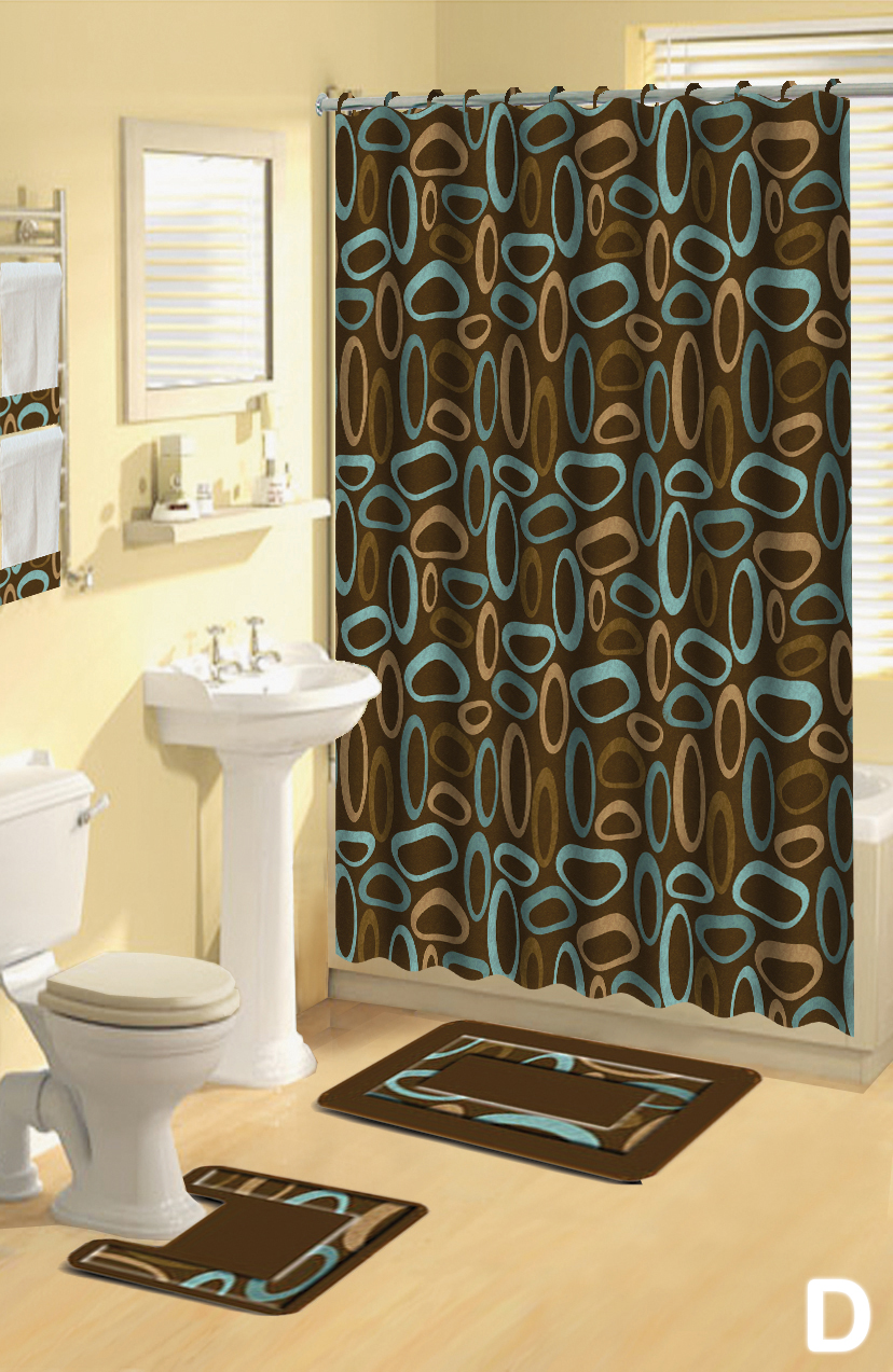 Shower Curtains 17 Pcs Set Contemporary Bath Mat Contour
