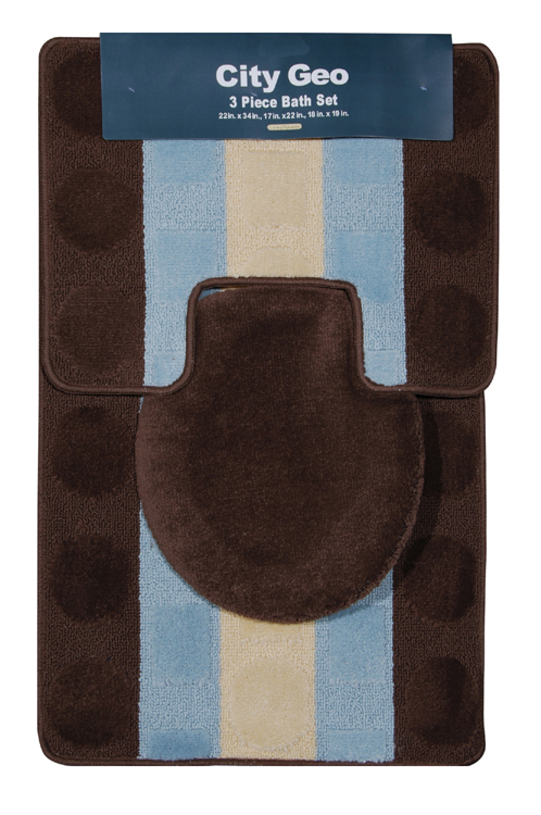 superior 3 Piece Bath Rug Part - 11: Modern Circles Stripes Brown-Teal 3 Piece Bathroom Shower Ensemble Bath Rug  Set
