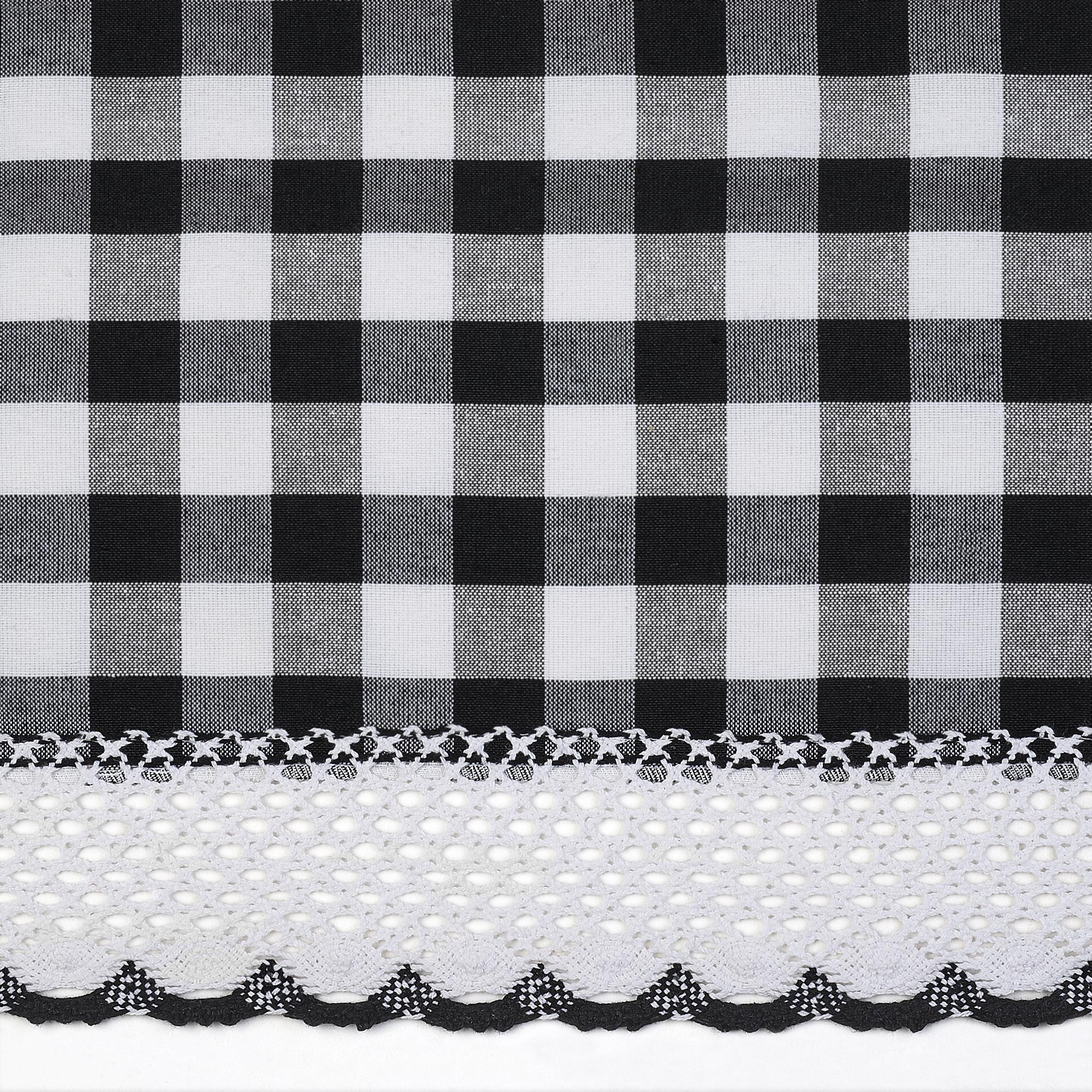 Black Checkered Plaid Gingham Kitchen Window Curtain ...