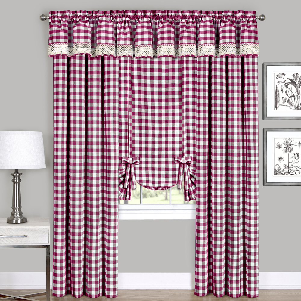 Checkered Window Curtain Drape Plaid Gingham Checker