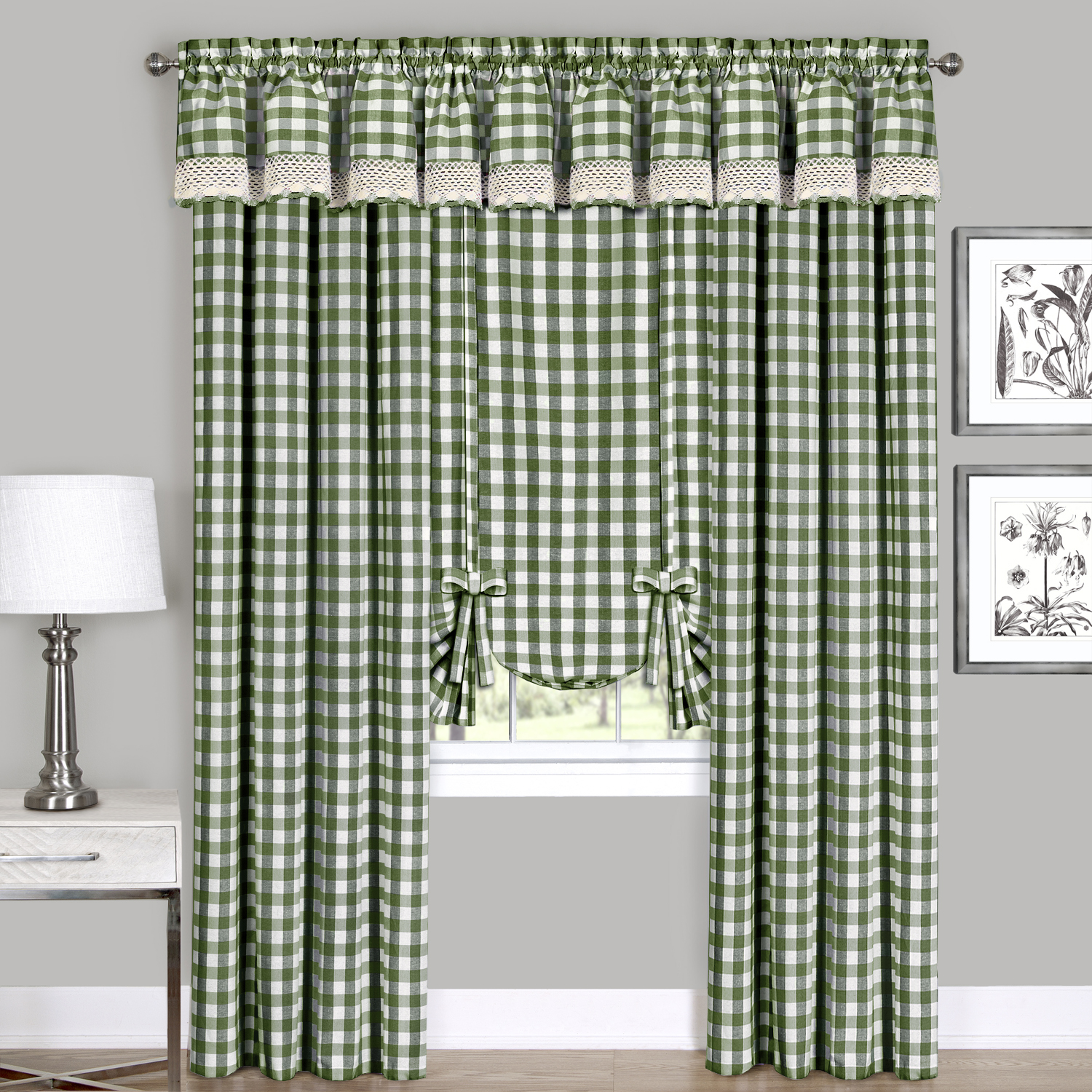 Sage Checkered Plaid Gingham Kitchen Window Curtain Drapes P