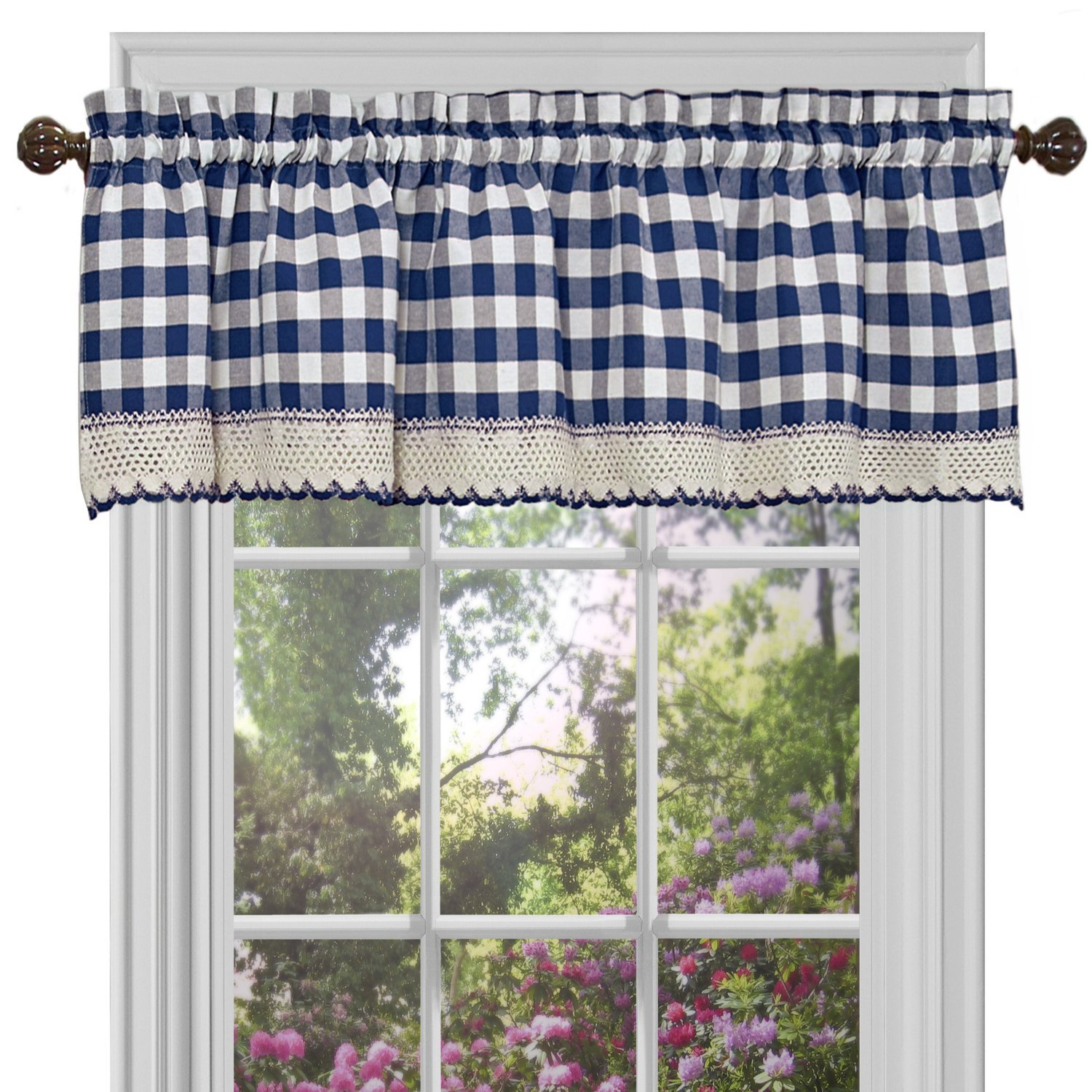 Checked Window Curtain Drape Plaid Gingham Checker Kitchen
