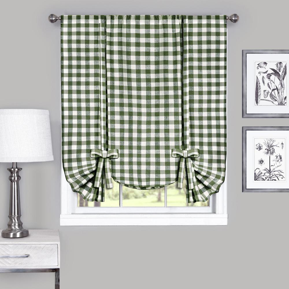 Checkered Window Curtain Drape Plaid Gingham Checker