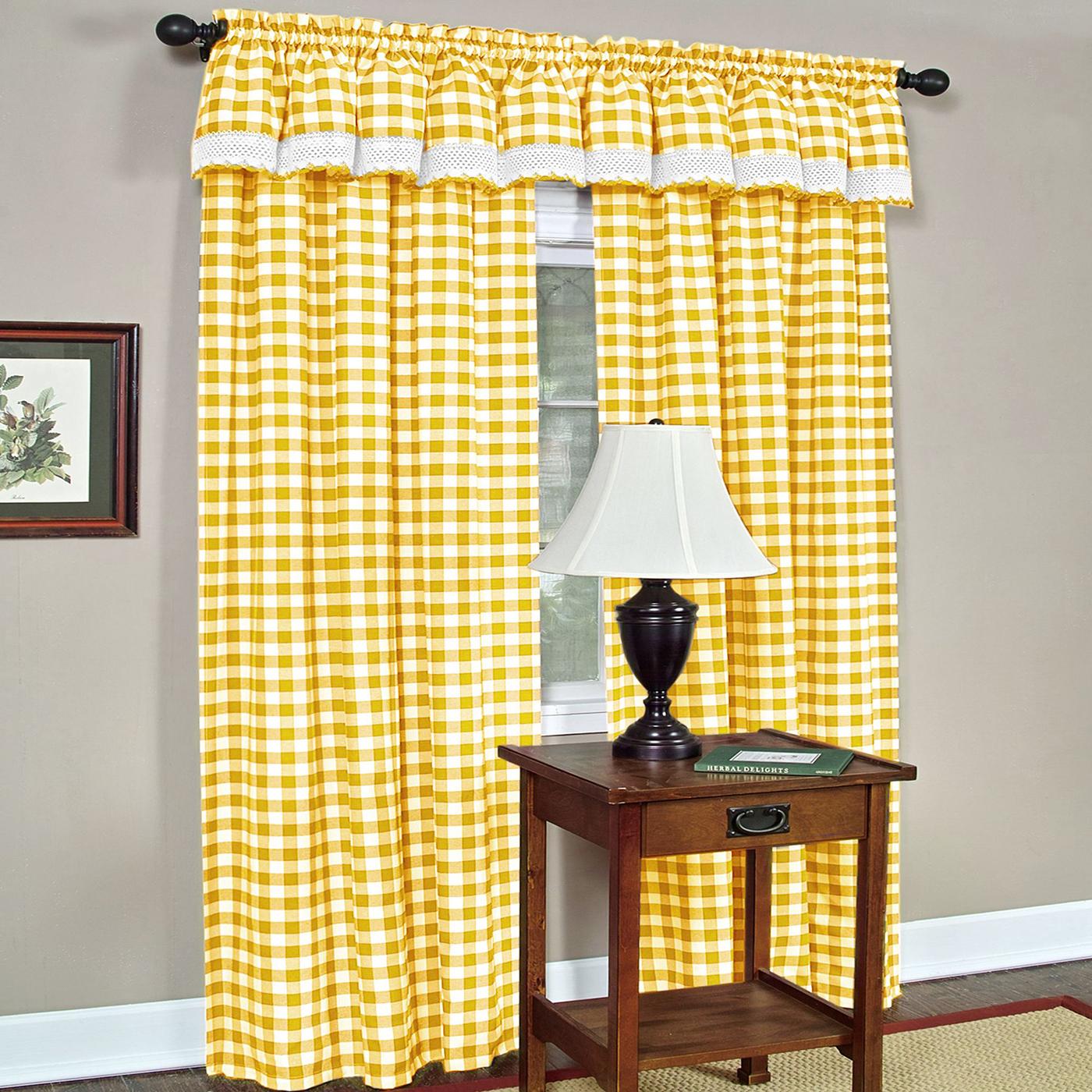 Black And Yellow Kitchen Curtains: Checkered Window Curtain Drape Plaid Gingham Checker