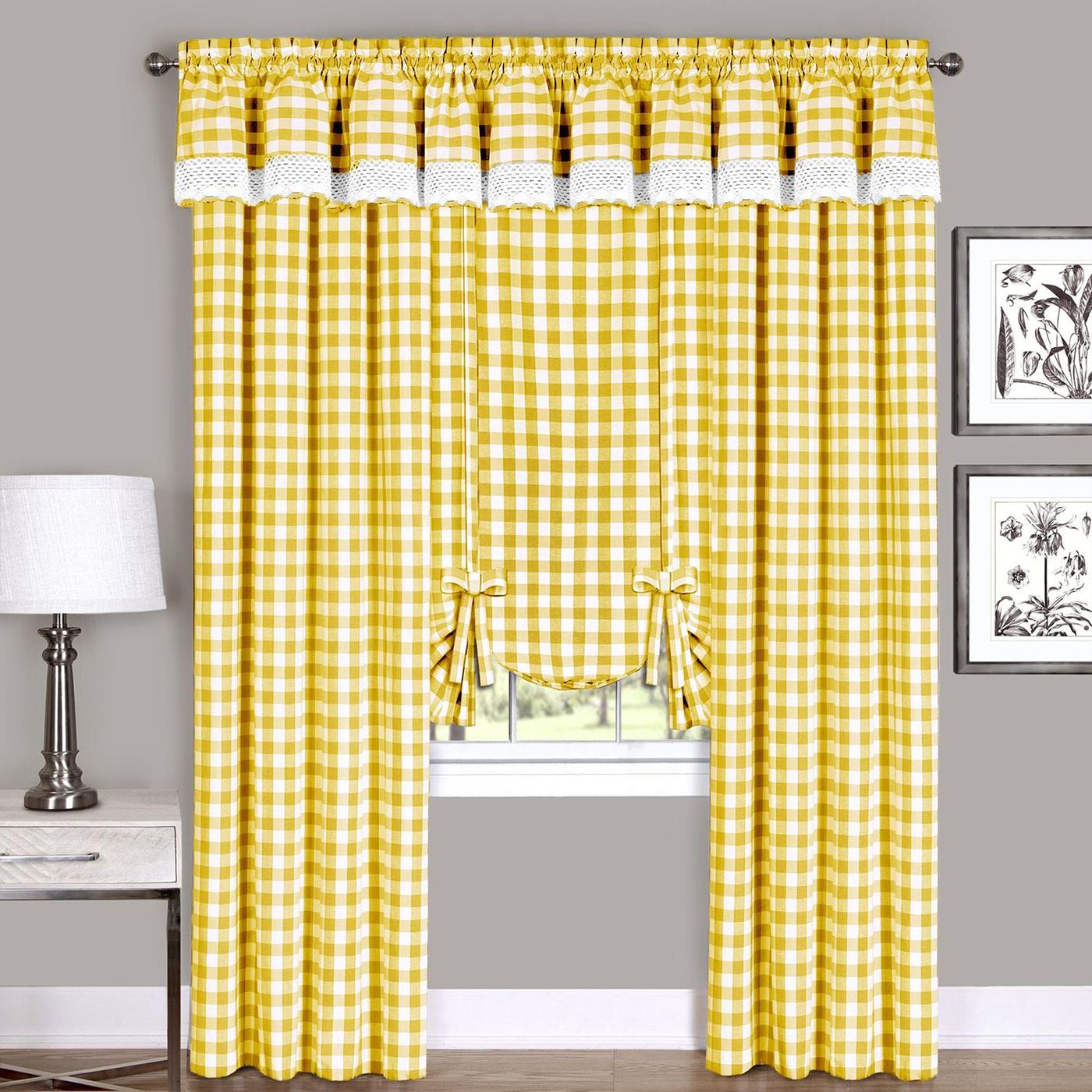 Yellow Checkered Plaid Gingham Kitchen Window Curtain
