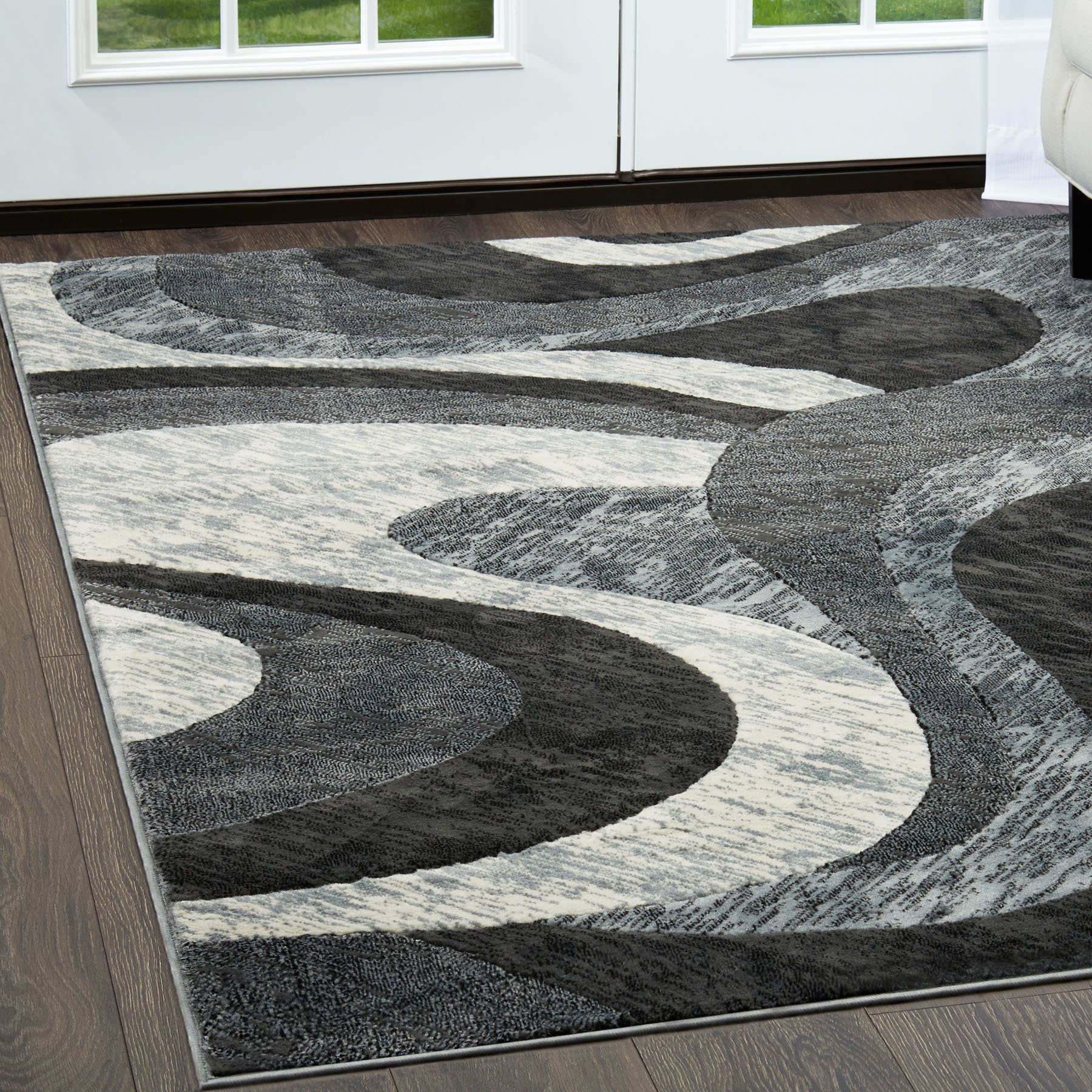 Modern Abstract Gray 6x8 Area Rug Contemporary Swirl ...
