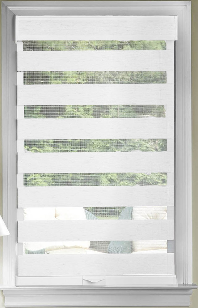 White Cordless Window Roller Shades Celestial Sheer Double