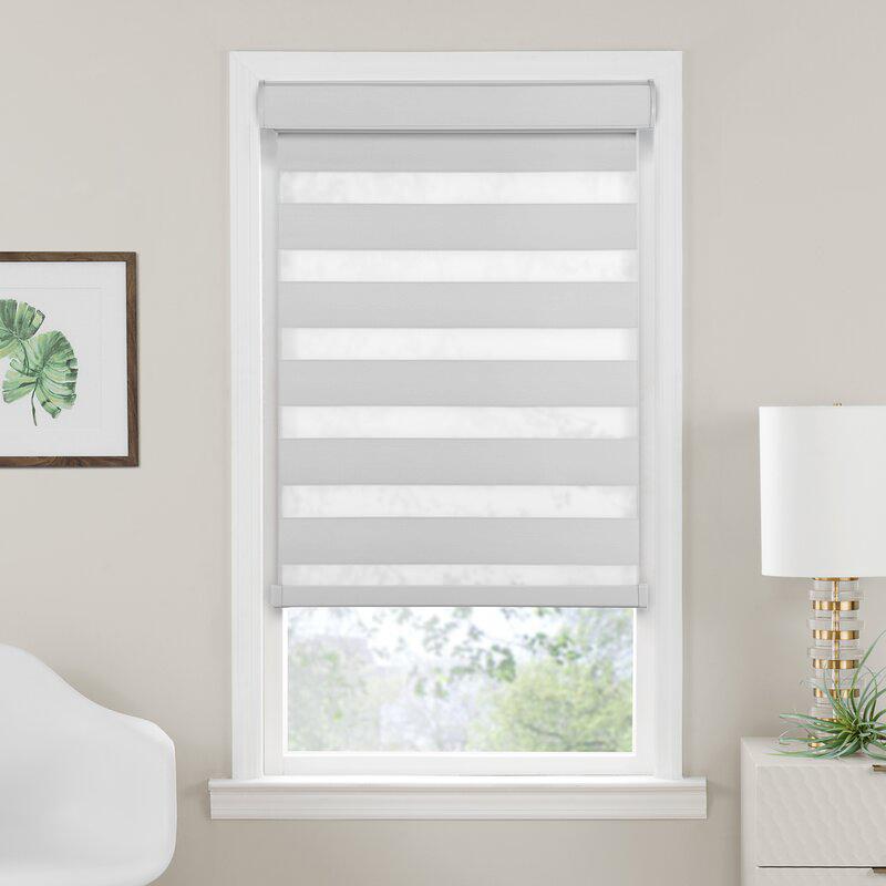 Cordless Dual Double-Layered Light Filtering Room Darkening Roller Window Shade