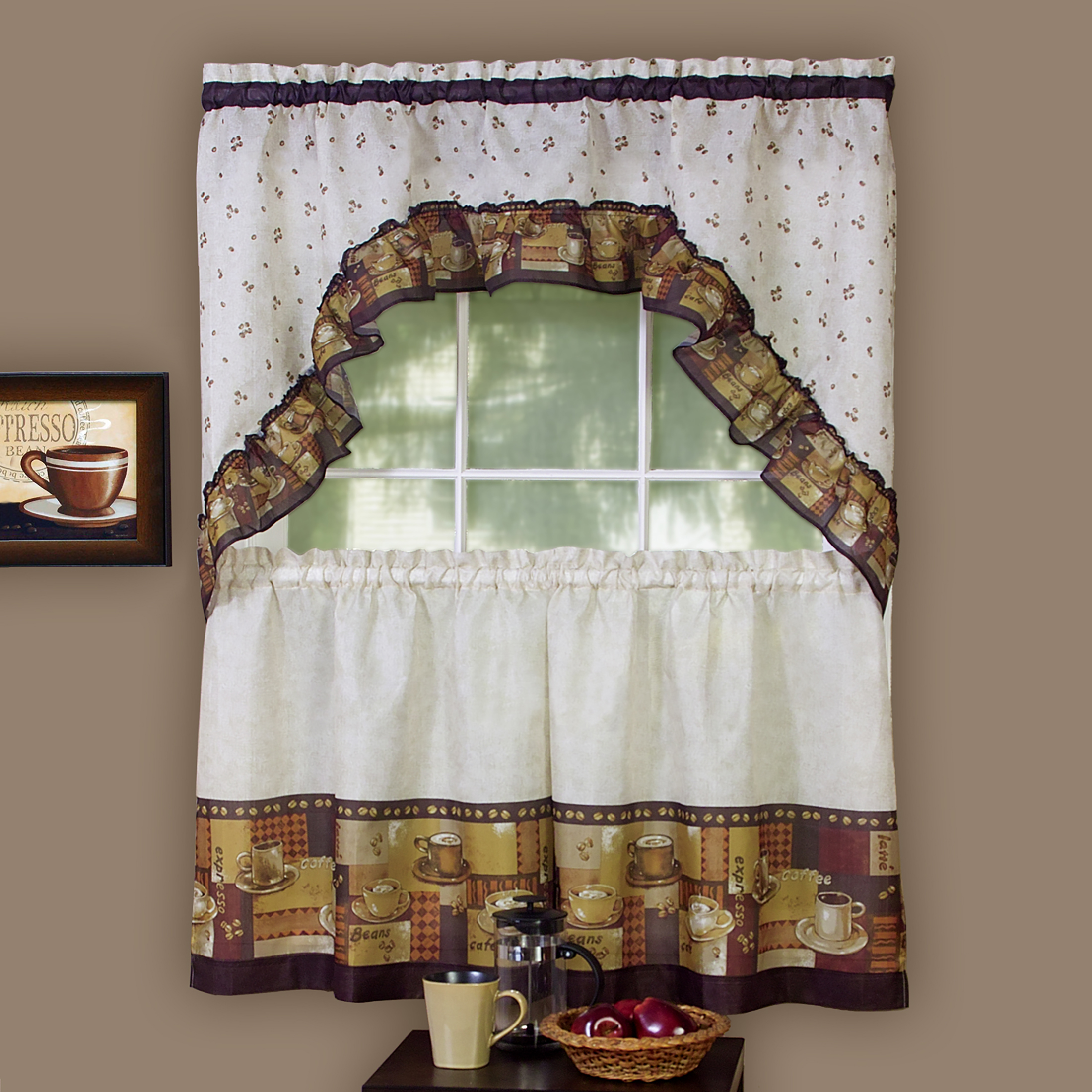 Details about 3-Piece Window Kitchen Curtain Set, Cafe and Latte, Tier Pair  Panels + Top Swag