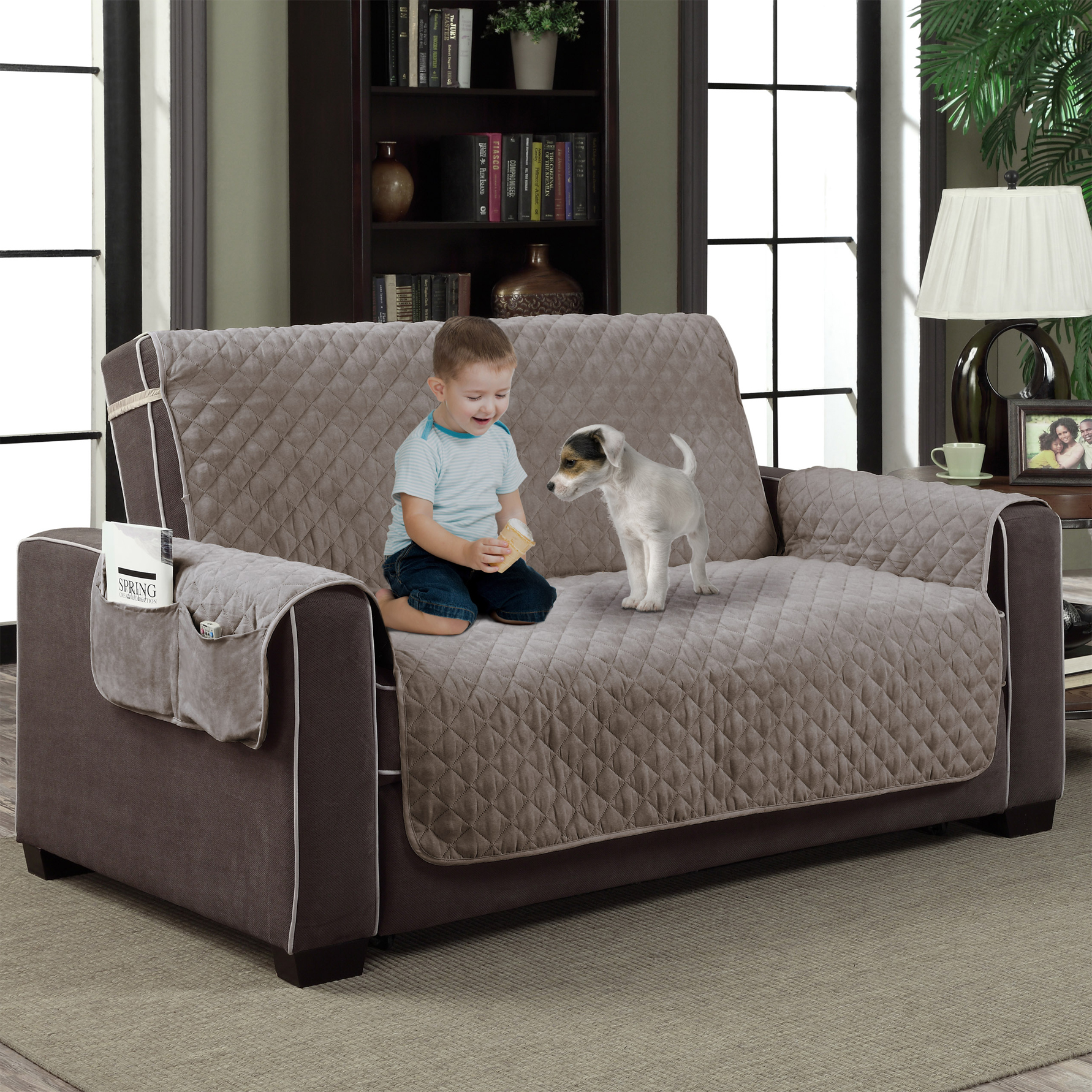 Marvelous Details About Gray Microfiber Slipcover Pet Dog Furniture Reversible Couch Protector W Pocket Ncnpc Chair Design For Home Ncnpcorg