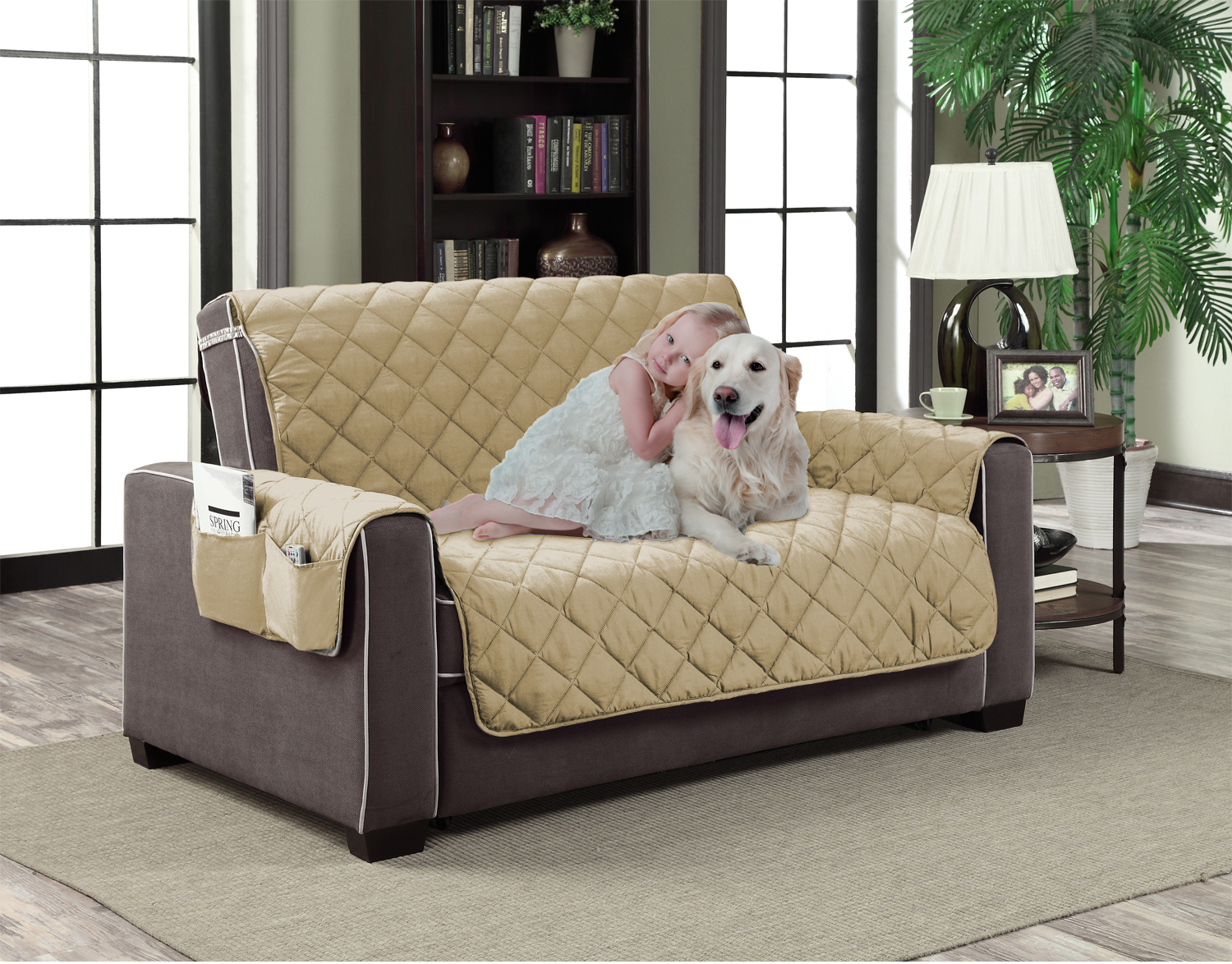 beige microfiber slipcover pet dog reversible furniture