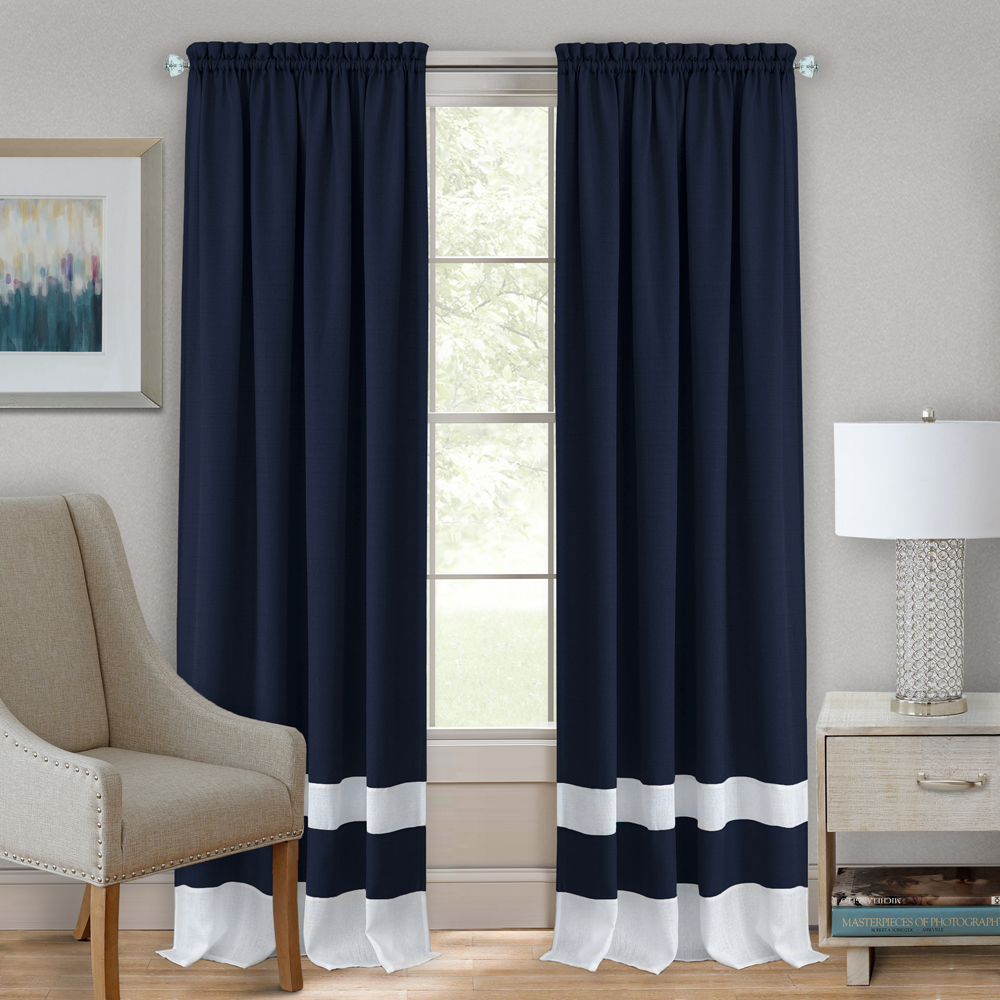 Navy Blue White Modern Two Tone Window Curtains Panel