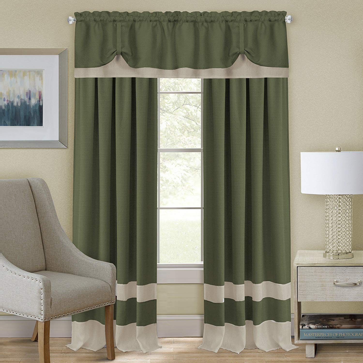 Modern Two Tone Window Curtain Double Layer 2 Pack Panels Set Kitchen Or Home Ebay