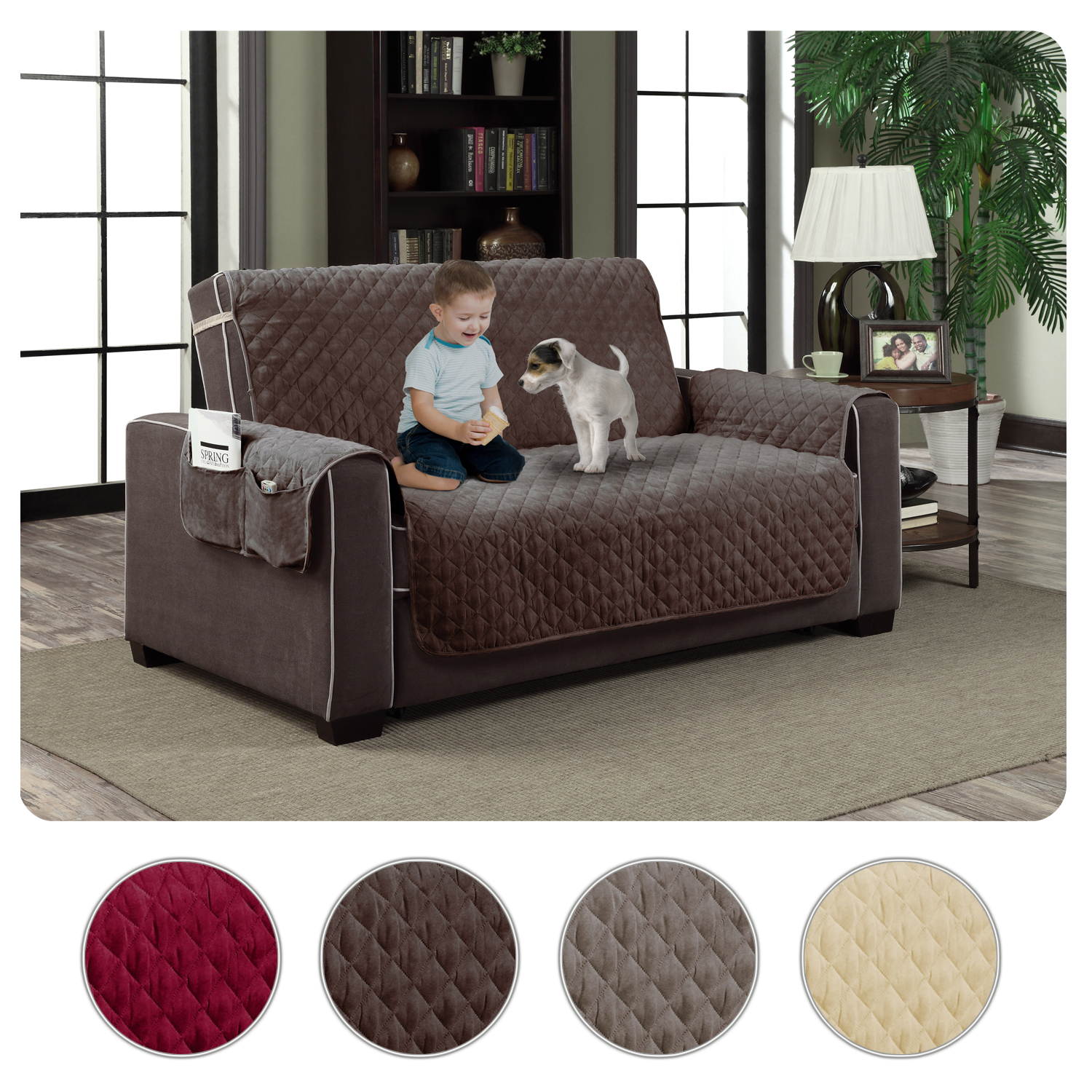Micro Suede Slipcover Pockets Pet Dog Couch Furniture Protector