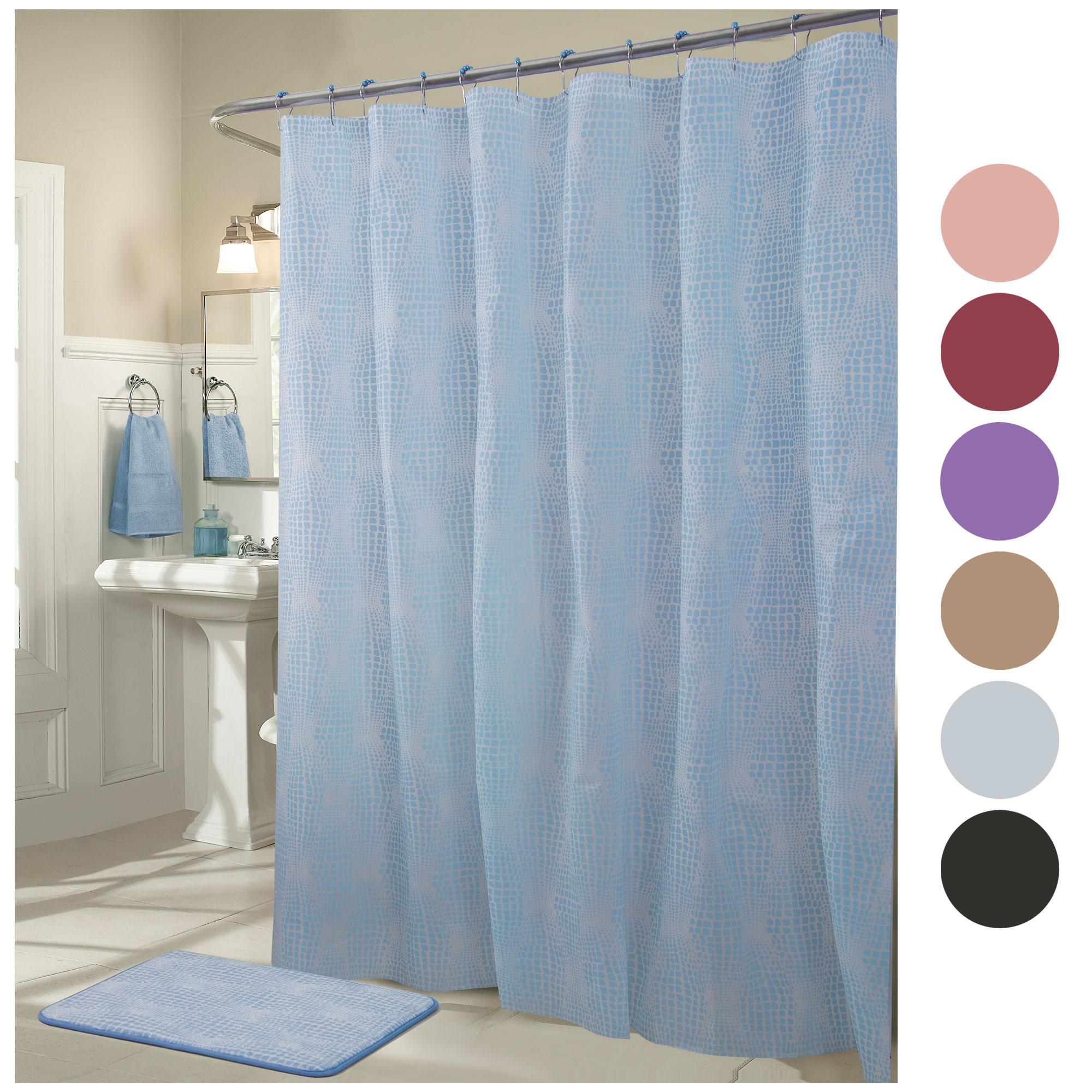 Details About 13pc Textured Modern Solid Bath Shower Curtain Metal Hooks And Memory Foam Mat