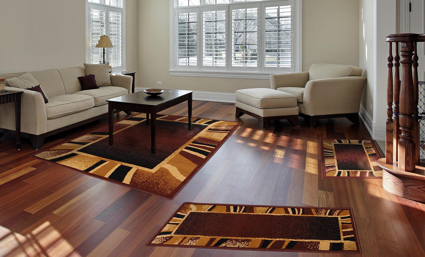 3 pc set modern contemporary geometric area rug