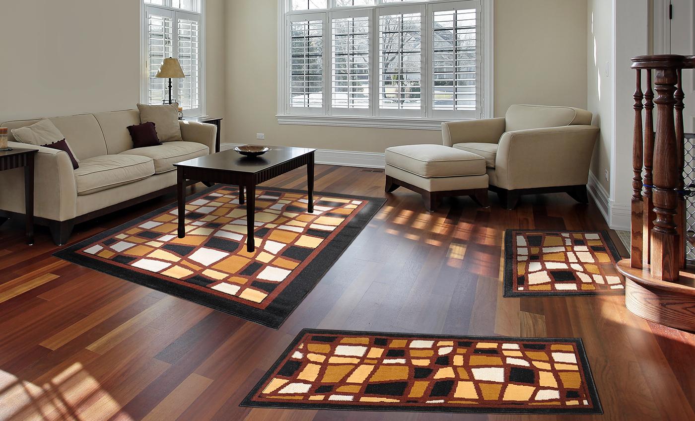 3-Pc-Set-Modern-Contemporary-Geometric-Area-Rug-Runner-Accent-Mat-Carpet