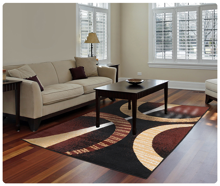 Modern Contemporary Geometric Area Rug Runner Accent Mat Carpet D Brown Rings