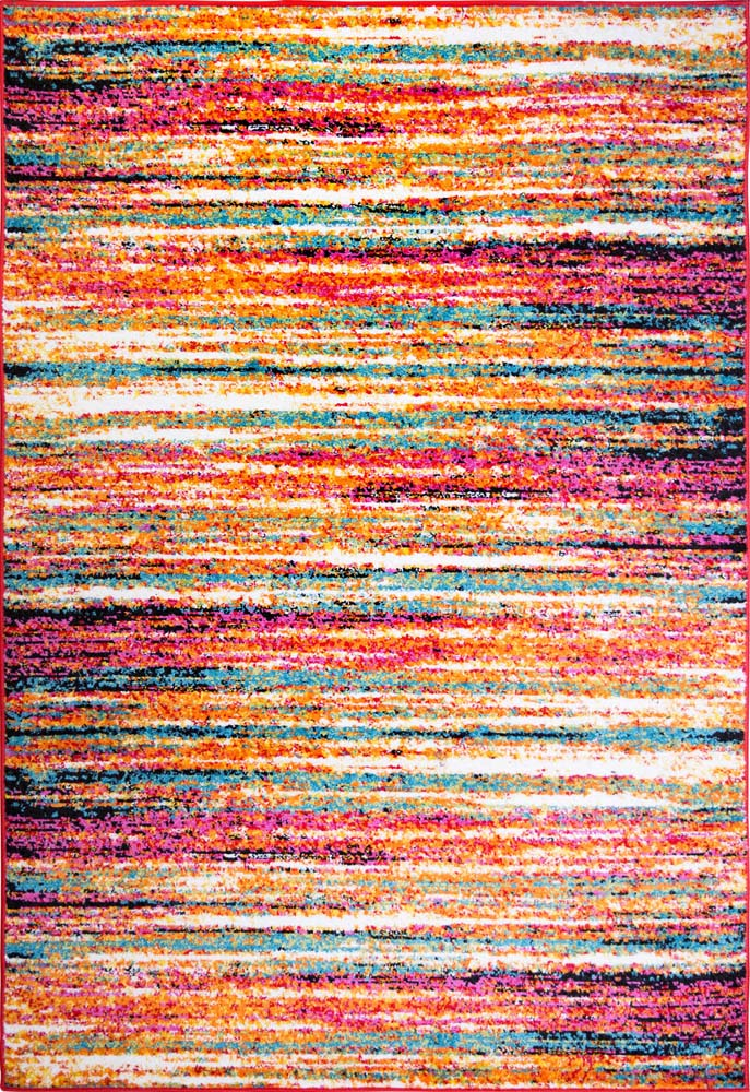 Abstract Lines Stripes Contemporary Area Rug Multi Color