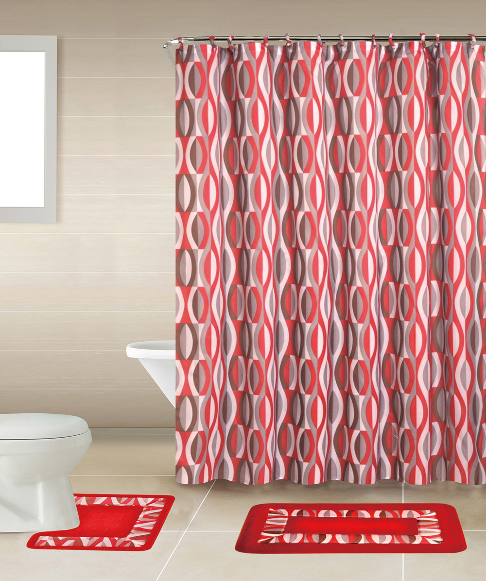 Geometic Helix Swirls Shower Curtain With Hooks Bathroom Rug Set 15