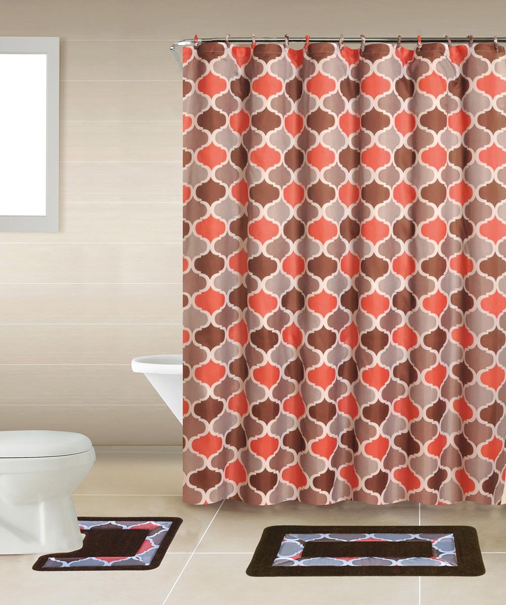 Bathroom Rugs Shower Curtains: Geometic Helix Swirls Shower Curtain With Hooks Bathroom