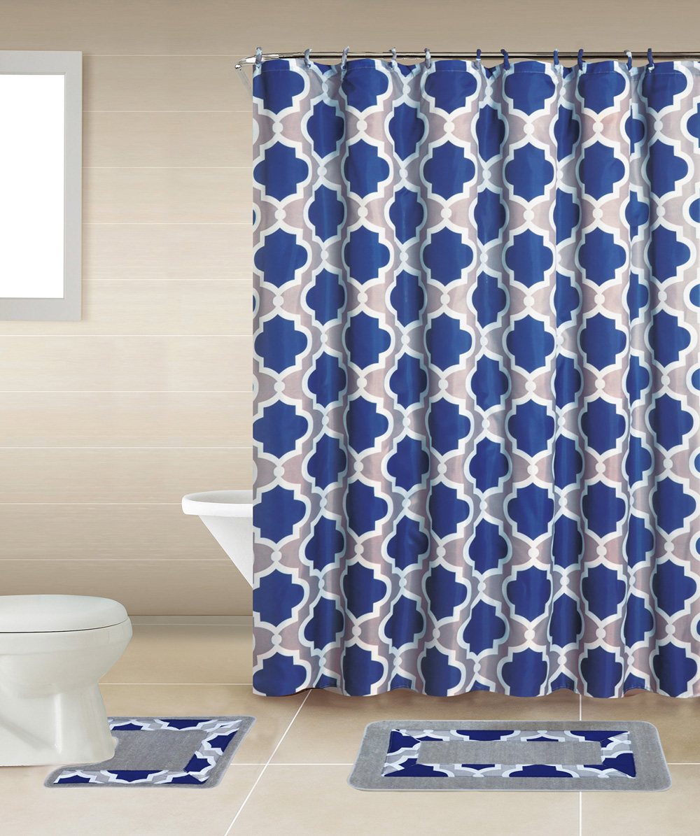 Red Trellis Swirls Modern Multi 15 Pcs Shower Curtain W